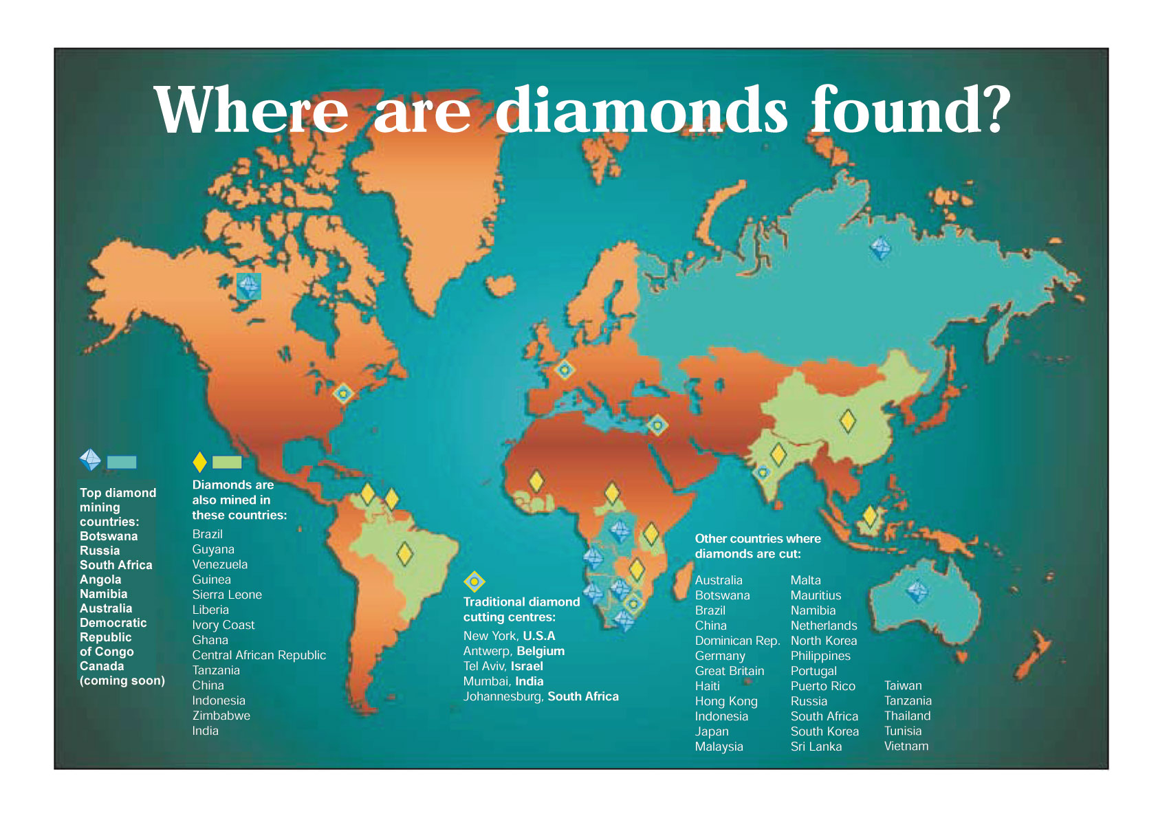 World Map of Diamonds